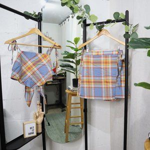 Plaid Handkerchief Tie Back Top & Wrap Skirt Set